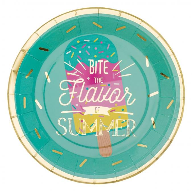 Хартиена парти чинийка Сладолед, 6бр. в пакет различни цветове и златен блестящ надпис