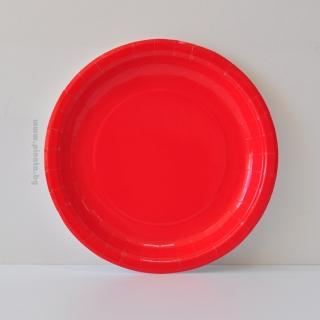 Хартиена парти чинийка, 23 см червена