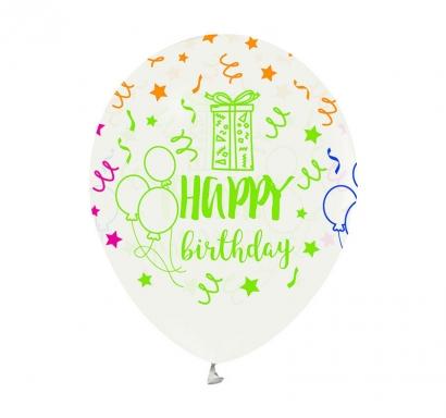 Балон прозрачен с цветен неонов печат Честит Рожден Ден, 30 см, 6 бр. в пакет