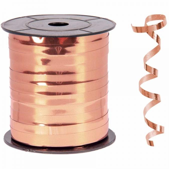 Лента за връзване на балони розово злато блестяща /10 метра/