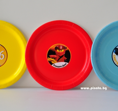 Персонализирана  хартиена парти чинийка Лего Нинджаго, 5бр. пакет