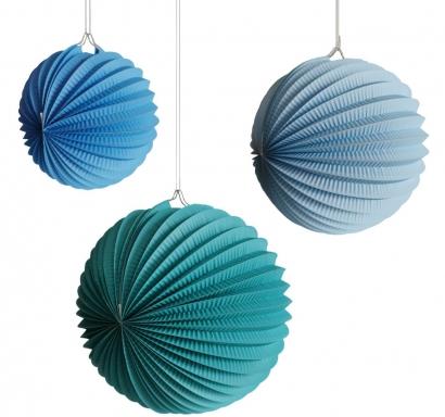 Висяща декорация - 3 бр. сини хартиени топки, различни размери