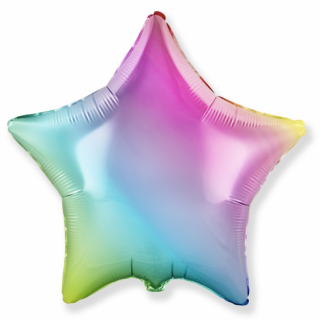 Фолиев балон звезда в преливащи пастелни цветове тип дъга, 46 см Flexmetal, /Gd/