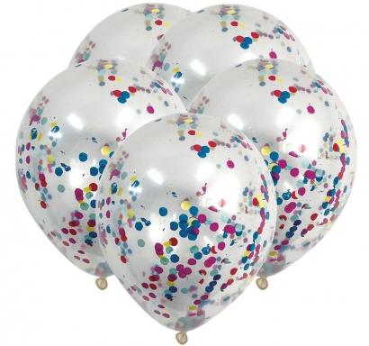 Комплект 5 бр. прозрачни балони с шарени конфети, диаметър 30 см.