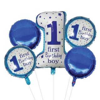 Комплект 5 бр. фолиеви балони Първи рожден ден Бебе Момче / First Birthday Boy