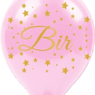 Балон с златен печат 1 година Bir Yas, диаметър 30 см, 5 бр. в пакет бебешко розово