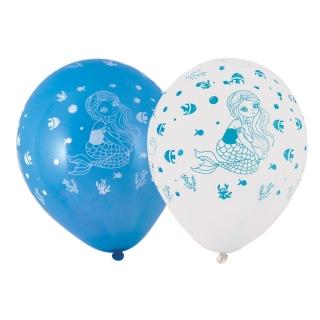 Комплект 10 бр. балони с щампа Русалка, 23 см диаметър светло синьо и бяло