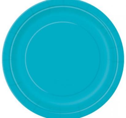 Хартиена парти чинийка карибско синя, 18 см, 20 бр. в опаковка