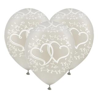 Комплект 10 бр. прозрачни латексови балони, диаметър 30 см., с щампа сърца и орнаменти