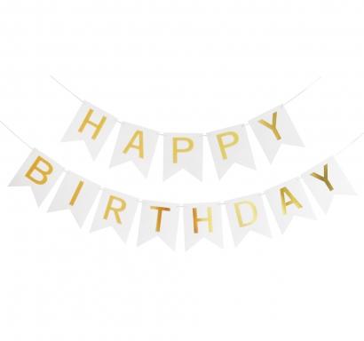 Банер комплект Happy Birthday / Честит Рожден Ден, бял със златни букви