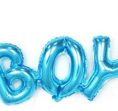 Фолиев балон букви Бебе момче / Boy, 94х37см, цвят син