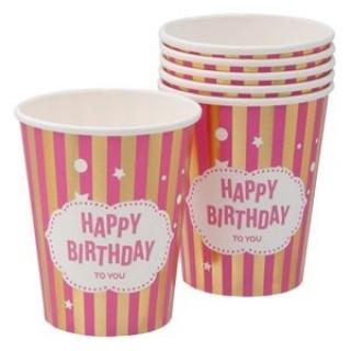 Хартиена парти чашка Честит Рожден Ден розово и злато 270 мл, 6 бр. в пакет