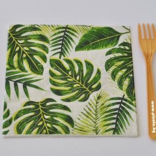 Парти салфетки Зелени листа със злато 33х33 см