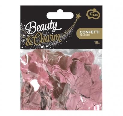 Конфети за балони блестящи кръгли, цвят розово злато, 18гр. 1,5 см диаметър /Gd/