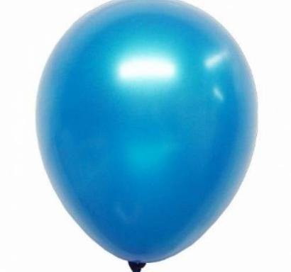 Балон син металик, диаметър 30 см, 10 бр. в пакет