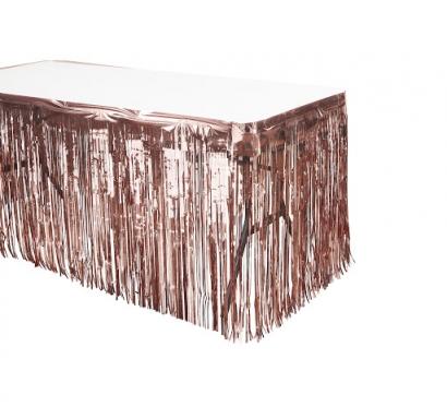 Ресни, завеса за декорация на маса /ПВЦ/ лъскави, цвят розово злато 70х300см