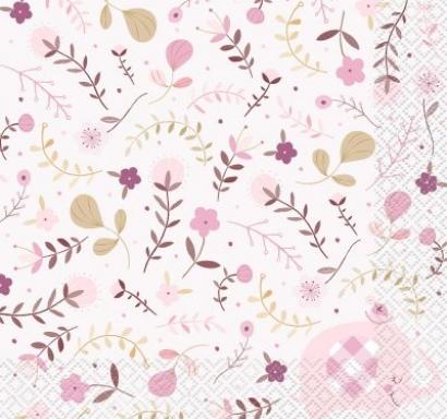 Парти салфетки Бебе, слонче, момиче с флорални елементи, Pink Floral Elephant, 16 бр в пакет