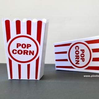 Парти кутийка за пуканки с червени ленти и надпис Popcorn