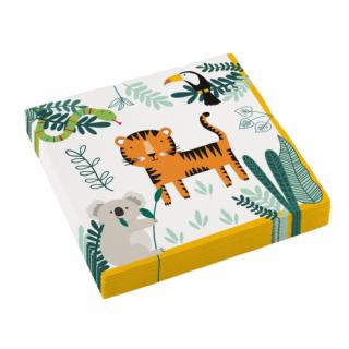 Парти салфетки Джунгла, сафари, животни 33х33 см, 20бр. в пакет, Amscan /Gd/