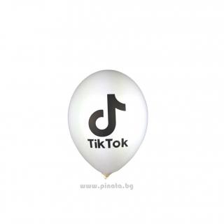 К-кт балони с печат Тик Ток, 26 см. диаметър, 10 бр. в опаковка, цвят бял