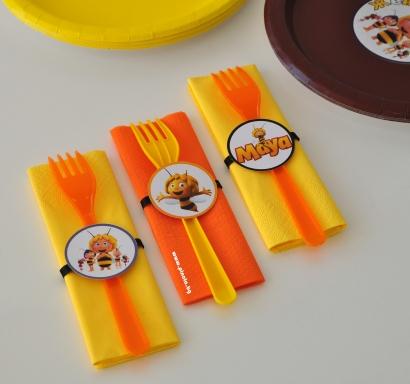 Парти комплект салфетка и виличка пчеличката Мая, 5 бр. пакет