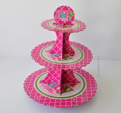 Стойка за мъфини три нива, розова момиче