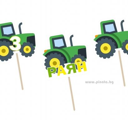 Персонализиран  топер за мъфини Трактор, 5 бр. в опаковка
