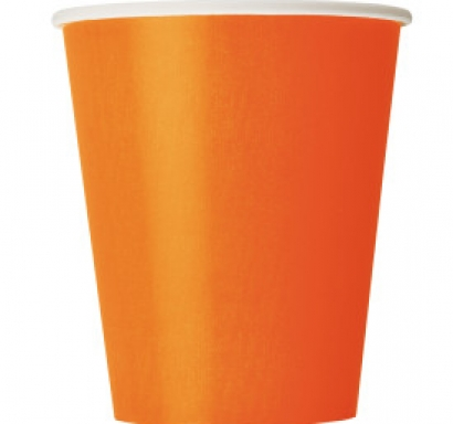 Хартиена парти чашка оранжева 250 мл