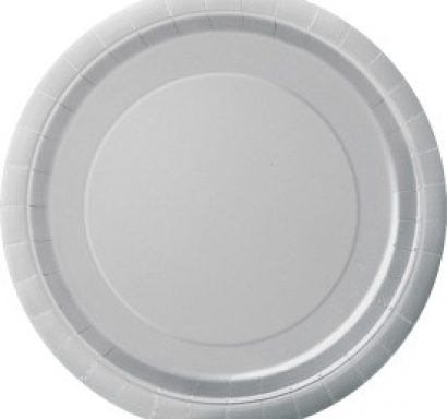 Хартиена парти чинийка сребърна, 23 см 16 бр. в опаковка