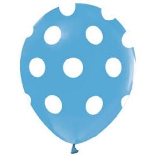 Балон син на бели точки, диаметър 30 см, 5 бр. в пакет
