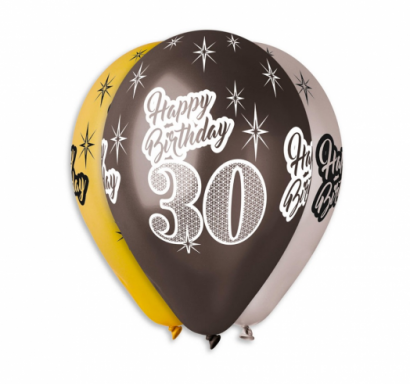 Комплект 6 бр. балони металик с печат 30 години Happy Birthday, микс цветове Gemar /Gd/