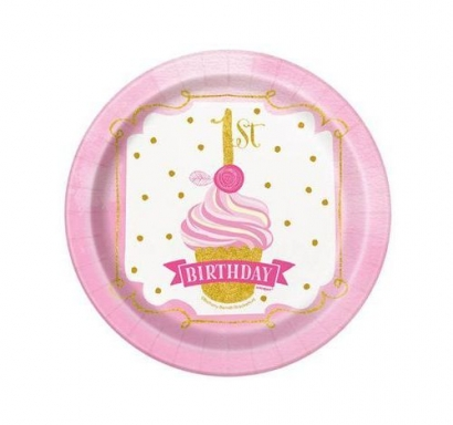 Хартиена парти чинийка Първи рожден ден в златно и розово 18 см, First Birthday, 8 бр. в опаковка