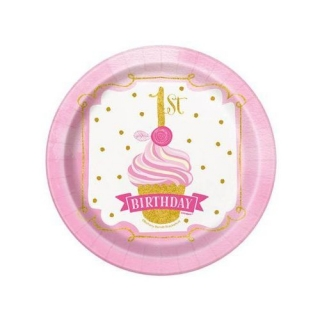 Хартиена парти чинийка Първи рожден ден в златно и розово 18 см, First Birthday