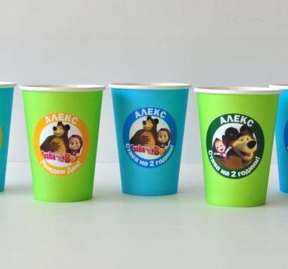 Персонализирана хартиена парти чашка 270 мл Маша и Мечока