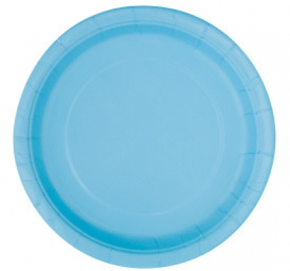 Хартиена парти чинийка светло синя, 18 см