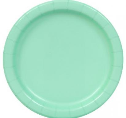 Хартиена парти чинийка цвят мента, 18 см
