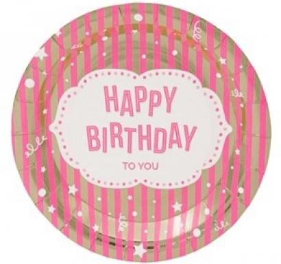 Хартиена парти чинийка Честит Рожден Ден розова и злато 23 см, 6 бр. в пакет
