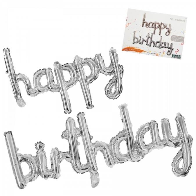 "Балон надпис ""Happy Birthday"" /сребро/, 124 см"