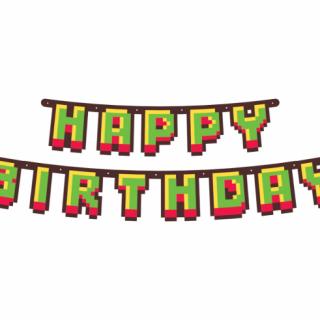 Банер гирлянд за декорация Геймърски Рожден Ден Майнкрафт / Game On, с текст Happy Birthday, 1,6 м дължина /Gd/