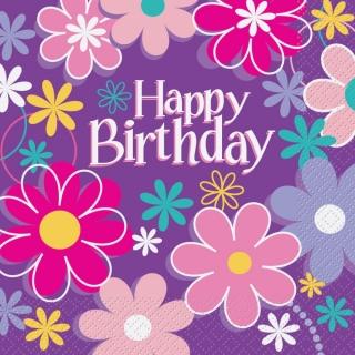 Парти салфетки Рожден Ден Цветя 16 бр в пакет, Birthday Blossoms