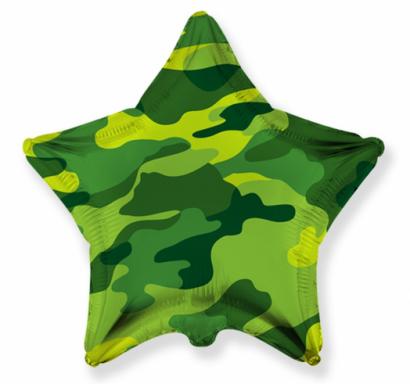 Фолиев балон звезда Камуфлаж / 40 см, Flexmetal /Gd/