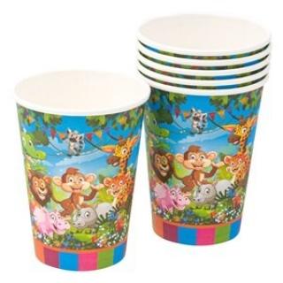 Хартиена парти чашка Джунгла, Сафари, Животни 250 мл, пакет 6бр.