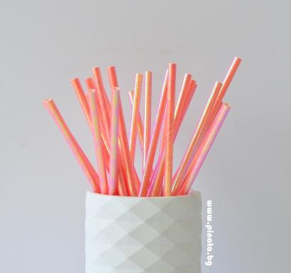 Сламки розови металик еко, 25 бр опаковка
