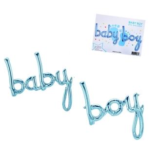 Фолиев балон надпис Бебе момче / Baby Boy, цвят син
