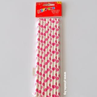 Картонени сламки бели на розови точки 8 бр опаковка