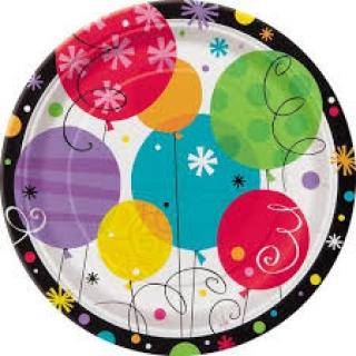 Хартиена парти чинийка Рожден Ден 18 см, Breezy Birthday