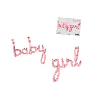 Фолиев балон надпис Бебе момиче / Baby Girl, цвят розов