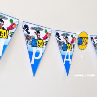 Персонализиран банер Честит Рожден Ден Малките Титани, с включени 2 бр. флагчета бонус