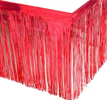 Ресни, завеса за декорация на маса /ПВЦ/ лъскави, цвят червено 70х300см