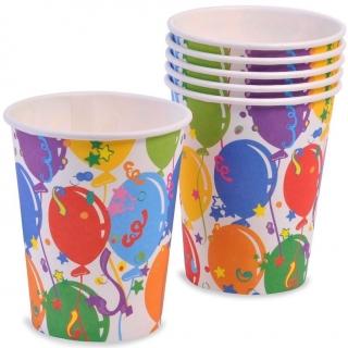 Хартиена парти чашка шарени балони, 10бр. в пакет